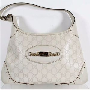 "Signature ""GG"" GUCCI WHITE GUCCISSIMA LEATHER HOBO"